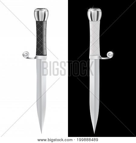 Dagger. Vector illustration isolated on white and black background
