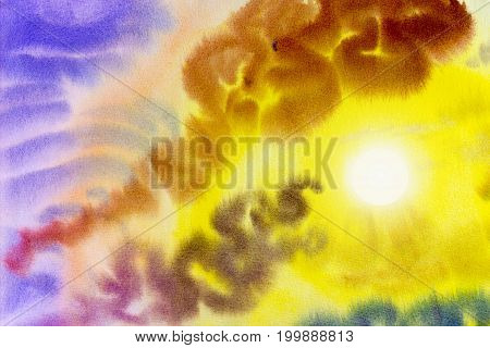 Abstract painting art watercolor landscape original colorful of sun beauty in nature and emotion in blue sky background