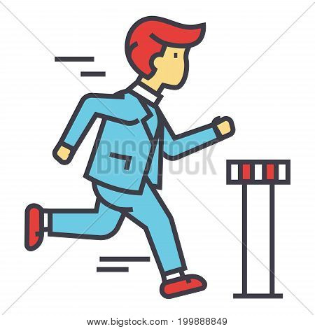 Businessman run cross finish line, business race, ceo marathon concept. Line vector icon. Editable stroke. Flat linear illustration isolated on white background