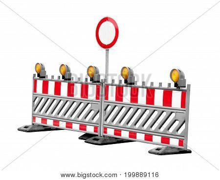 No thoroughfare construction side traffic signs isolated