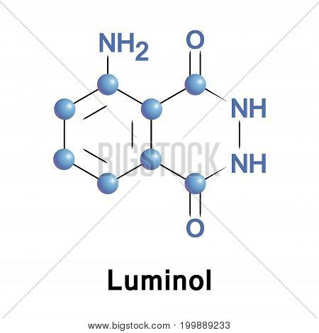 Luminol is a chemical that exhibits chemiluminescence with a blue glow, when mixed oxidizing agent, it is used to detect copper, iron, and cyanides, as well as specific proteins by western blot.