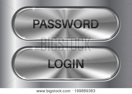 Metal oval buttons on stainless steel background. LOGIN and PASSWORD 3d icons. Vector illustration