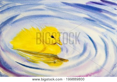 Painting lovely, watercolor landscape original colorful of little yellow duck and emotion on water background