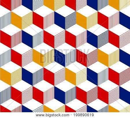 Abstract 3d striped cubes geometric seamless pattern in red blue yellow and white, vector background