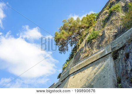 View from bottom to brick wall, mountains trees and blue sky. Monterosso al Mare, Italy. Cinque Terre beauties.