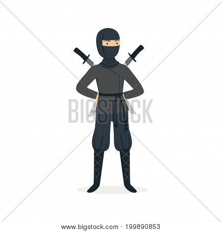 Ninja assassin character in a full black costume standing with katana swords behind his back, Japanese martial art vector Illustration on a white background