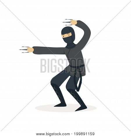 Ninja assassin character in a full black costume fighting with claws, Japanese martial art vector Illustration on a white background