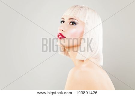 Cute Blonde Woman Fashion Model with Blonde Bob Hairstyle and Makeup on Banner Background