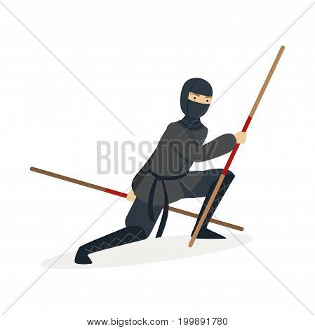 Ninja assassin character in a full black costume fighting with bamboo training swords in his hands, Japanese martial art vector Illustration on a white background