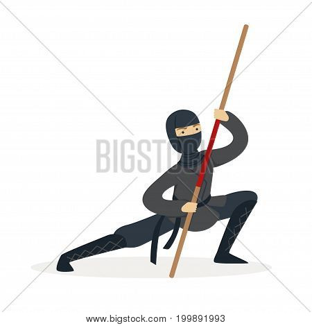 Ninja assassin character in a full black costume fighting with bamboo sword in his hand, Japanese martial art vector Illustration on a white background
