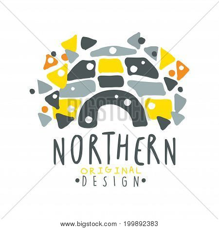 Nothern logo template design, badge for nothern travel, sport, holiday, adventure colorful hand drawn vector Illustration on a white background
