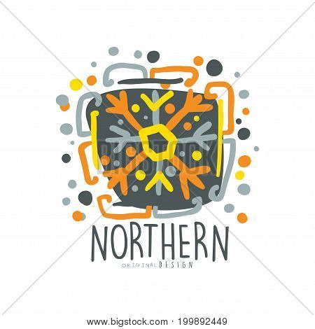 Nothern logo template, badge for nothern travel, sport, holiday, adventure colorful hand drawn vector Illustration with snow elements on a white background