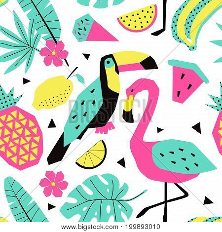Funny summer tropical pattern with birds. Creative illustration in trendy style