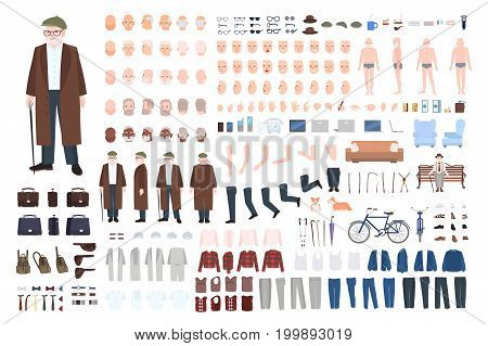 Old man character constructor, creation set. Different grandfather postures, hairstyle, face, legs, hands, clothes, accessories Vector cartoon illustration Front side back view
