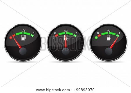 Black fuel gauge. Empty, half, full level. With chrome frame. Vector illustration isolated on white background