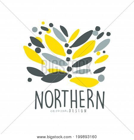 Nothern logo template original design, badge for nothern travel, sport, holiday, adventure colorful hand drawn vector Illustration on a white background