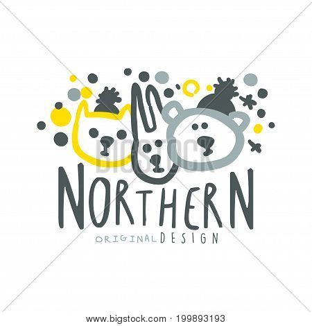 Nothern logo template original design, badge for nothern travel, sport, holiday, adventure colorful hand drawn vector Illustration with symbols of the north nature on a white background