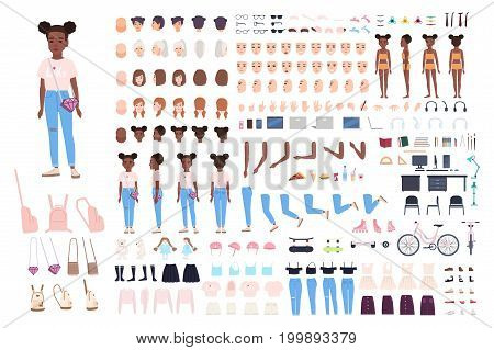 Little girl character constructor. Female child creation set. Different postures, hairstyle, face, legs, hands, clothes, accessories collection. Vector cartoon illustration Front side back view