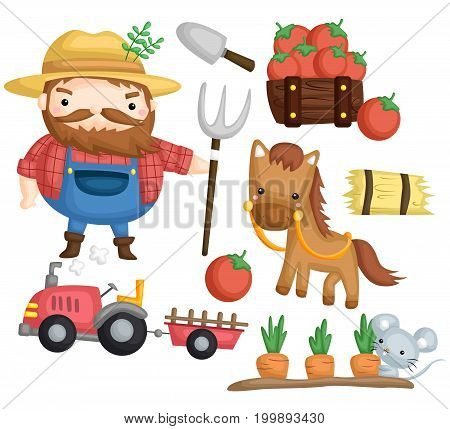 an old farmer with his farm tools and horse