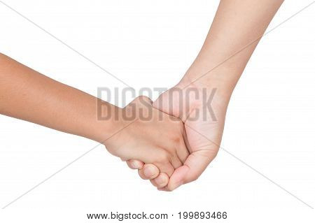 Caucasian mom and daughter hold hand isolated on white background