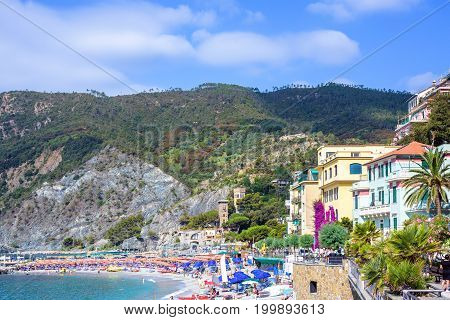 Daylight view to Monterosso al Mare mountains and city streets with buildings. Italy, Cinque Terre