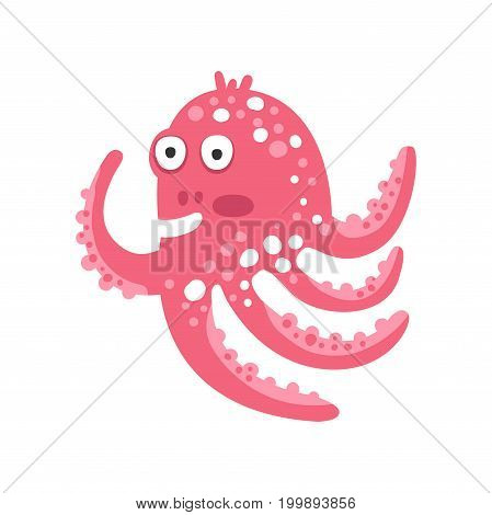 Cute surprised cartoon pink octopus character, funny ocean coral reef animal vector Illustration on a white background