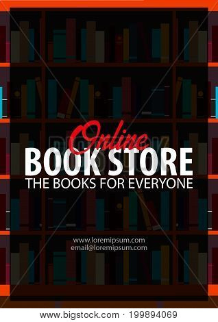 Poster Online Book Store. Book Shelf Or Bookcase On The Background.