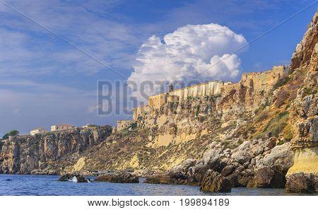 Gargano National Park:Tremiti Islands' archipelago.(Apulia) ITALY. A view of San Nicola island from sea with the Abbey of Santa Maria a Mare (