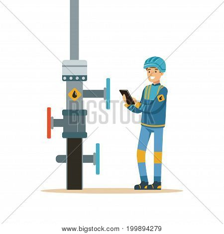 Oilman inspecting an oil pipeline, oil industry extraction and refinery production vector Illustration on a white background