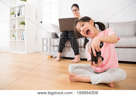 Sweet Little Girl Children Happy Holding Joystick
