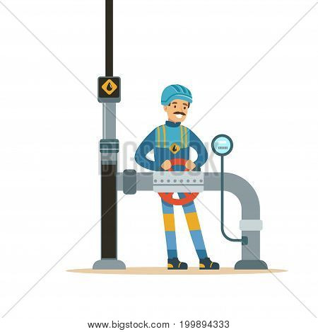 Oilman worker on an oil pipeline controlling gauges, transportation of oil and petrol vector illustration on a white background