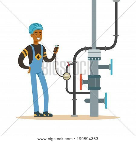 Black oilman worker on an oil pipeline controlling gauges, transportation of oil and petrol vector illustration on a white background