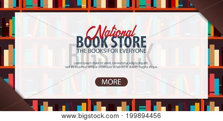 Banner National Book Store. Book Shelf Or Bookcase On The Background.