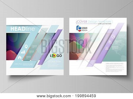 Business templates for square design brochure, magazine, flyer, booklet or annual report. Leaflet cover, abstract flat layout, easy editable vector. Bright color pattern, colorful design with overlapping shapes forming abstract beautiful background.