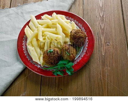 Veal Polpette and pasta.Traditional Italian meatballs  close up healthy meal