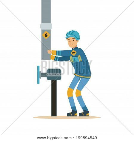 Builder worker fixing and joining industrial oil pipeline, oil industry extraction and refinery production vector Illustration on a white background