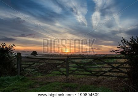 Summer Sunrise Over The Cotswolds, United Kingdom