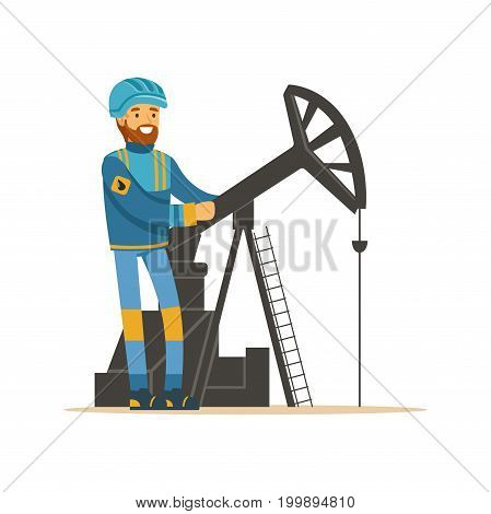 Oilman working on an oil rig drilling platform, oil industry extraction and refinery production vector Illustration on a white background