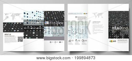 Tri-fold brochure business templates on both sides. Easy editable abstract vector layout in flat design. Abstract soft color dots with illusion of depth and perspective, dotted technology background. Multicolored particles, modern pattern, elegant texture