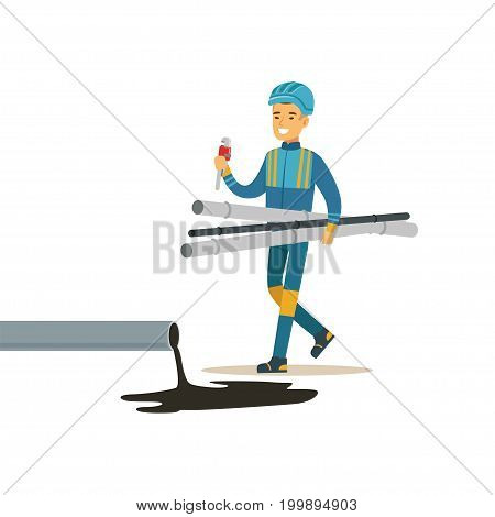 Builder worker repairing industrial oil pipeline, oil industry extraction and refinery production vector Illustration on a white background