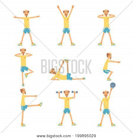 Senior man character exercising set, healthy active lifestyle retiree, elder fitness vector Illustrations on a white background