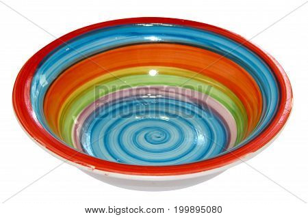 Bright Deep Dish With A Spiral Pattern Isolated Side View