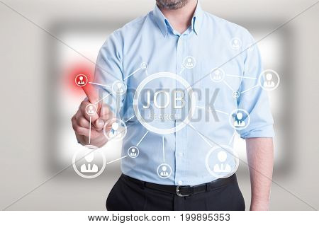 Male Entrepreneur Hand Pressing On Abstract Digital Icons