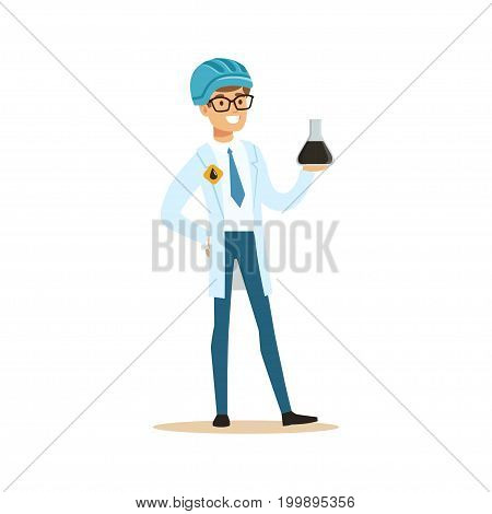 Chemical engineer working on oil samples, oil refinery production vector illustration on a white background
