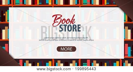 Banner Book Store. Book Shelf Or Bookcase On The Background.