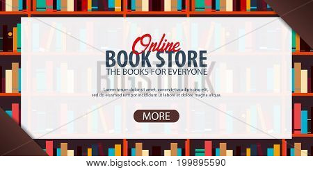 Banner Online Book Store. Book Shelf Or Bookcase On The Background.
