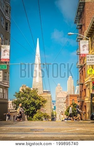 San Francisco, Ca - July, 04, 2017: Downtown And Transamerica Pyramid On Background. Sf Is The Most