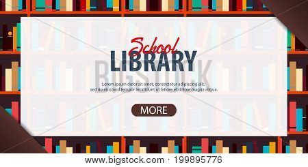Banner School Library. Book Shelf Or Bookcase On The Background.