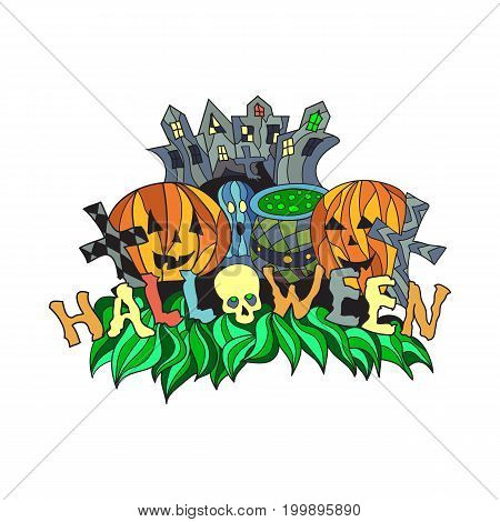 Vector halloween illustration with pumpkins and castle.