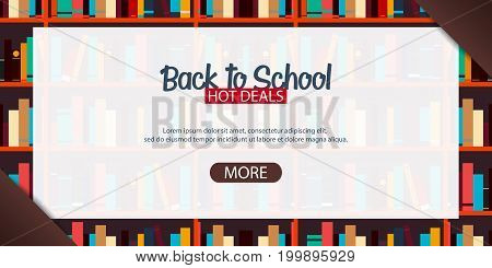 Banner Back To School. Book Shelf Or Bookcase On The Background.